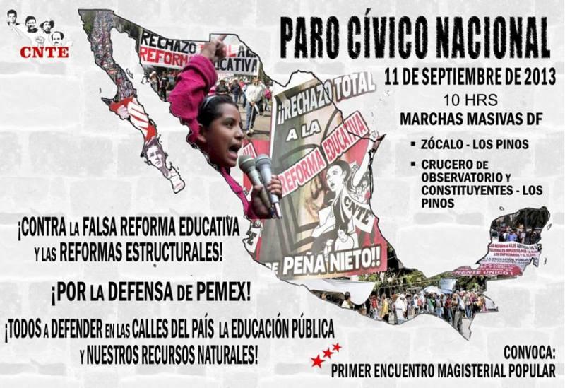 La CNTE convoca a Paro Cívico Nacional, este 11 de septiembre del 2013.